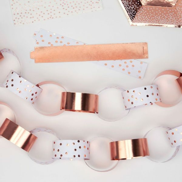 Merry Christmas Rose Gold & White Paper Chain (50)